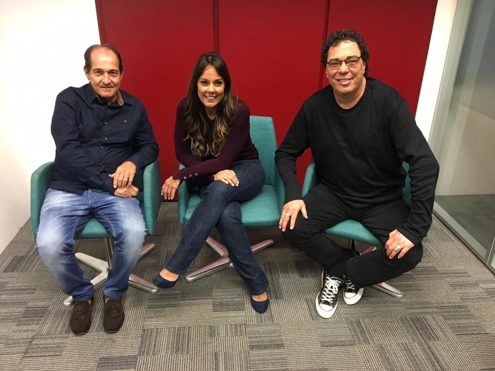 Muricy Ramalho, Fabíola Andrade e Casagrande na live do GloboEsporte.com — Foto: GloboEsporte.com