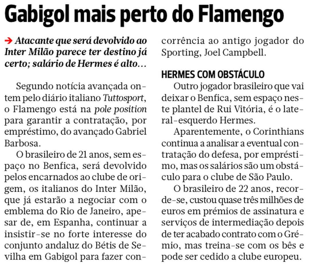 """Jornal """"A Bola"""" cita negociações com Gabigol e Hermes por clubes brasileiros"""