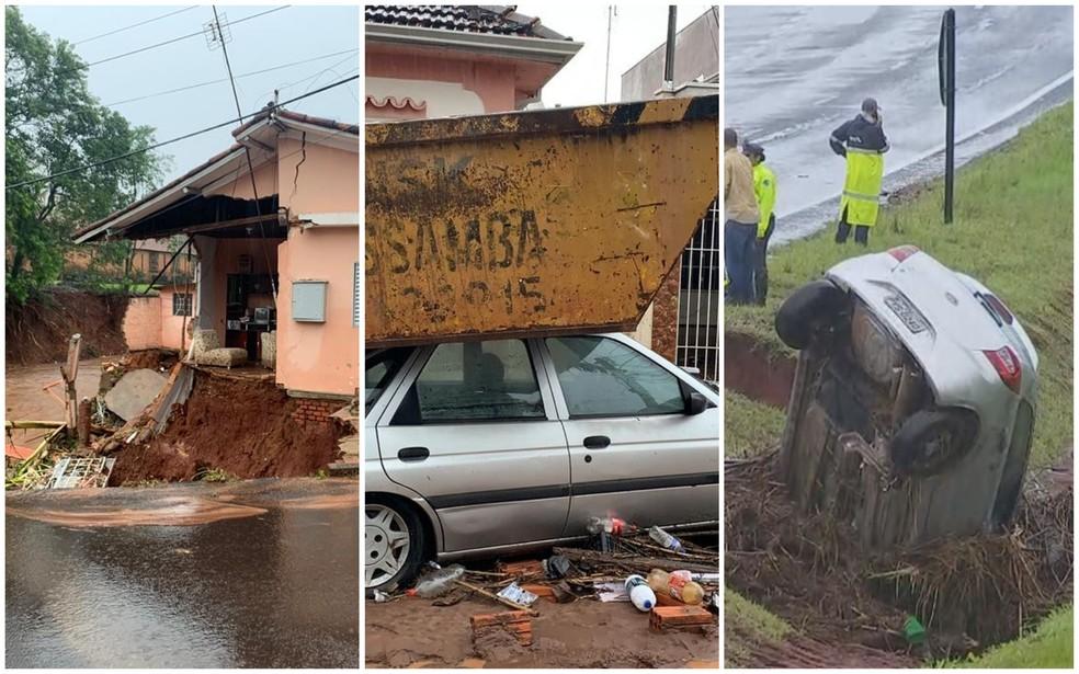 Temporal provocou estragos em Botucatu na madrugada desta segunda-feira (10) — Foto: Reprodução