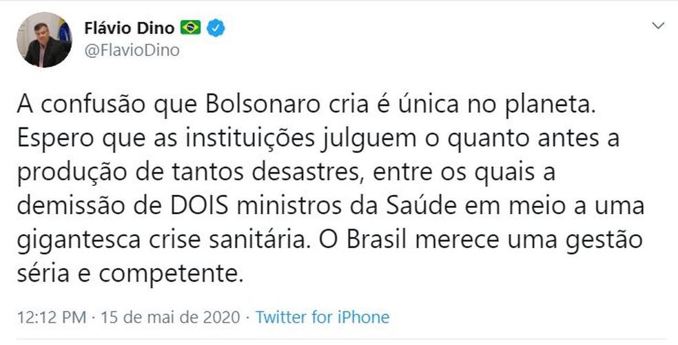 Flávio Dino critica saída do ministro da Saúde, Nelson Teich. — Foto: Reprodução/Redes Sociais.