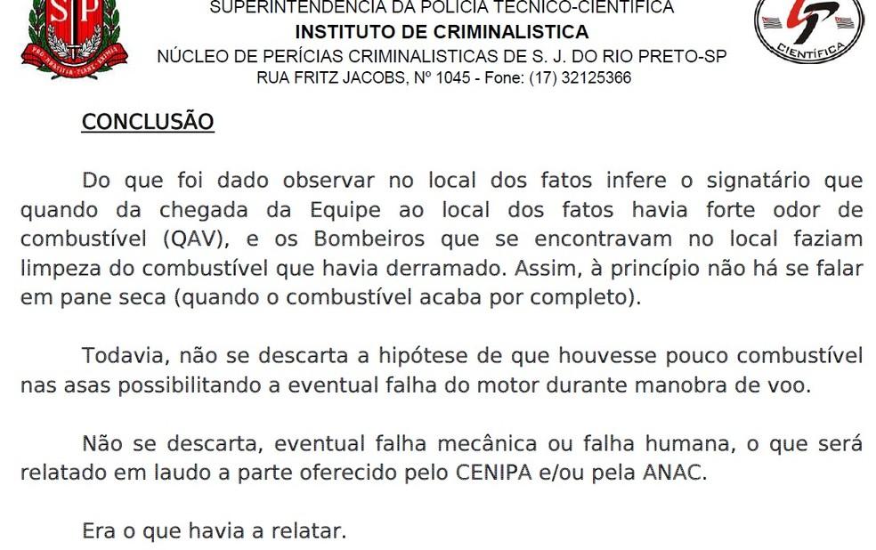 Laudo do Instituto de Criminalística aponta ossíveis causas do acidente aéreo que matou três pessoas em Rio Preto (SP) — Foto: Divulgação