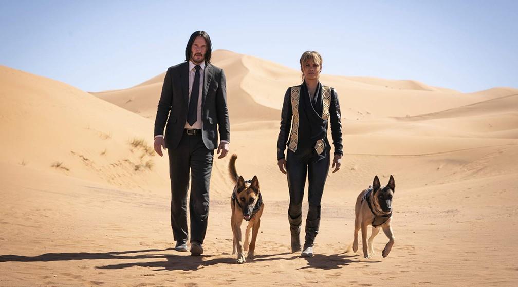 Keanu Reeves, Halle Berry e dois cachorros em cena de 'John Wick 3: Parabellum' — Foto: Divulgação