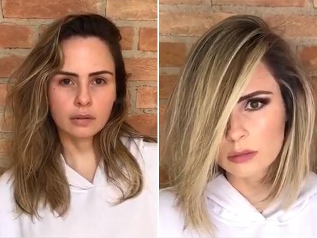 Ana Paula Renault mostra o antes de depois da mudança no visual (Foto: Reprodução/Instagram)