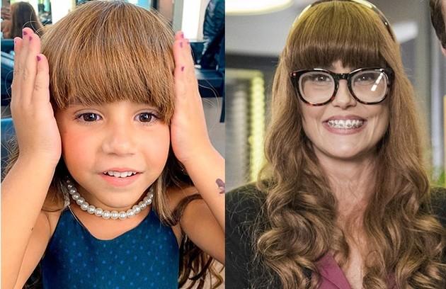 Maria Flor, filha de Deborah Secco, usou sua peruca nos bastidores de uma participação em 'Salve-se quem puder': 'Ela está muito ansiosa para se ver na TV' (Foto: Reprodução)