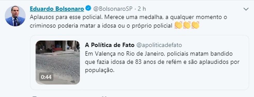 Depurado Eduardo Bolsonaro também comentou caso da idosa de 83 anos feira refém em Valença, RJ — Foto: Redes Sociais
