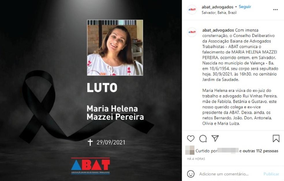 Associação Baiana de Advogados Trabalhistas divulgou nota de pesar — Foto: Reprodução / Redes Sociais