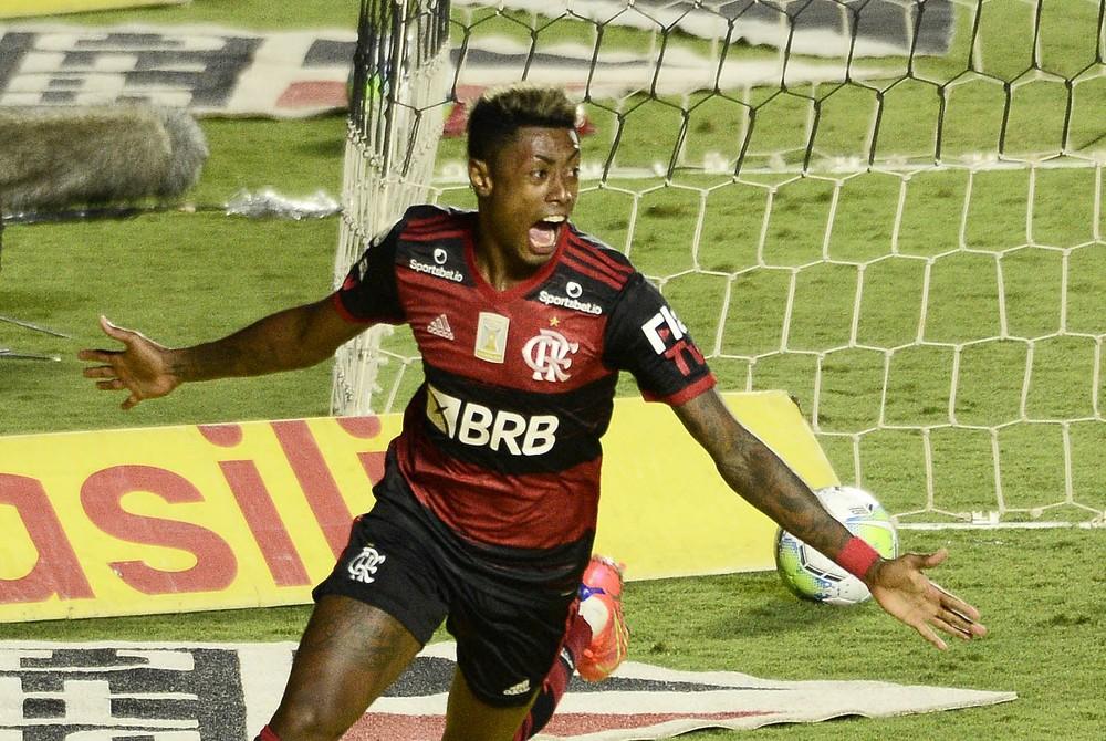 Autor do gol do Flamengo contra o São Paulo, Bruno Henrique comemora: Outro patamar mesmo