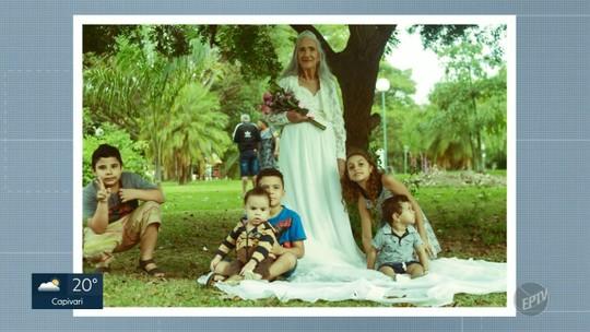 Sem registro do casamento, idosa realiza sonho e ganha sessão fotográfica vestida de noiva