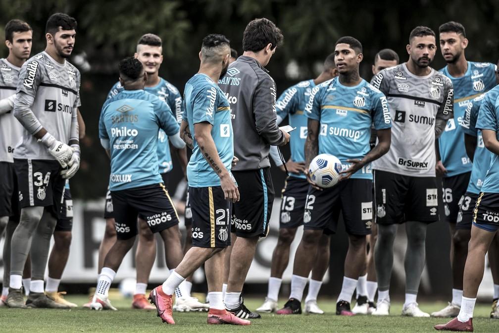 Diniz só terá um treino com elenco do Santos em campo antes do San-São — Foto: Ivan Storti/Santos FC