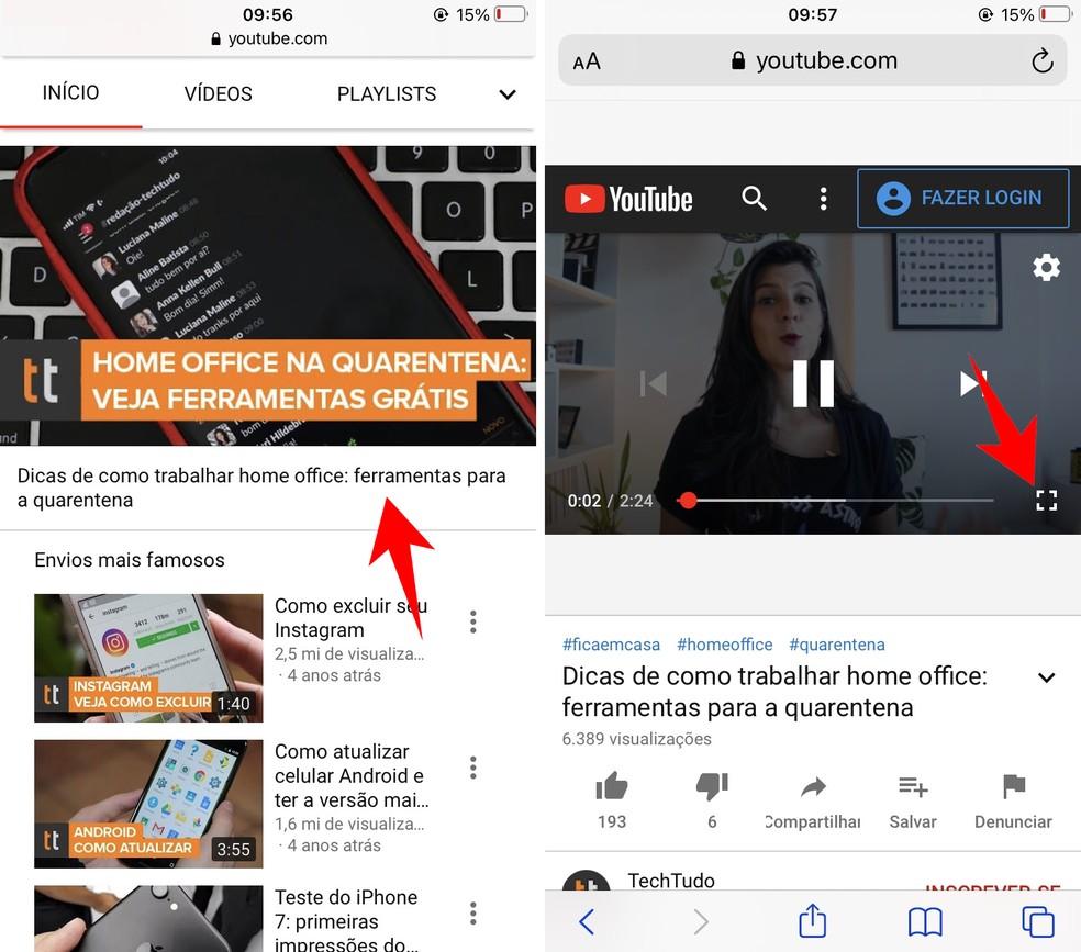 Colocando um vídeo em tela cheia no YouTube para iPhone — Foto: Reprodução/Rodrigo Fernandes