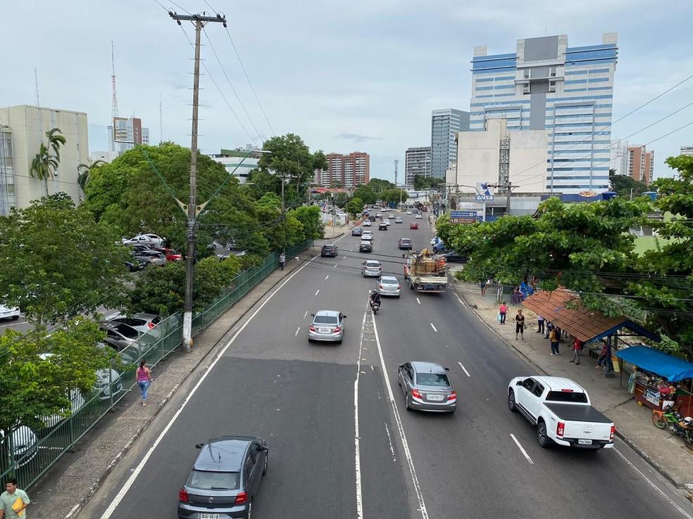 Av André Araújo, no Aleixo, não apresentava lentidão nesta manhã — Foto: Carolina Diniz/G1AM