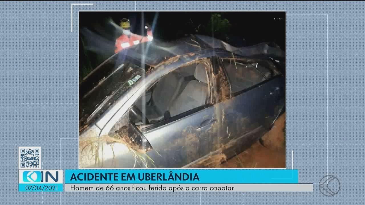 Homem fica ferido em acidente em estrada do distrito de Martinésia, em Uberlândia
