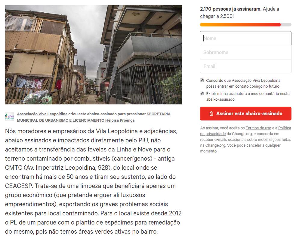 Abaixo-assinado é contra transferência de moradores das favelas para terreno no bairro (Foto: Reprodução/Change.org)