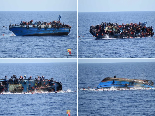 Combinação de fotos mostra imigrantes pulando de um barco durante naufrágio na quarta-feira (25), antes da chegada do resgate pelos navios 'Bettica' e 'Bergamini' da marinha italiana na costa da Líbia (Foto: Marinha italiana/Divulgação via Reuters)