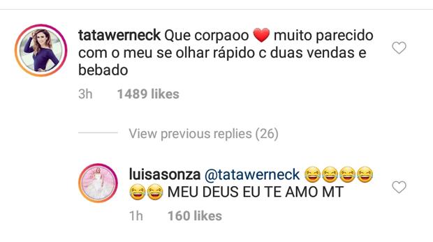Tata Werneck elogia Luisa Sonza (Foto: Reprodução/Instagram)