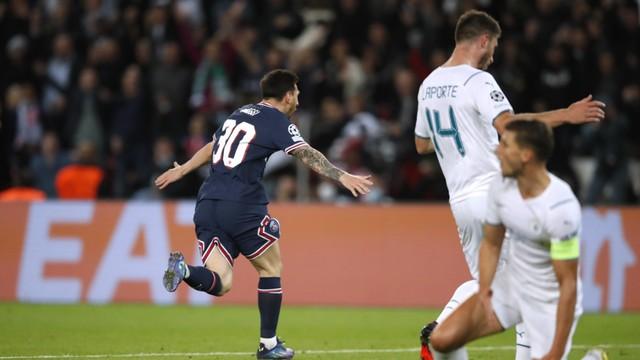 Messi sai para comemorar o seu gol contra o Manchester City