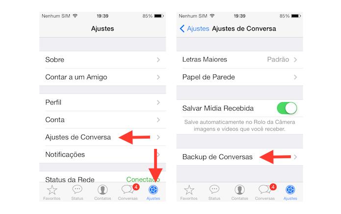 Acessando as opções de backup de conversas do WhatsApp no iOS (Foto: Reprodução/Marvin Costa)