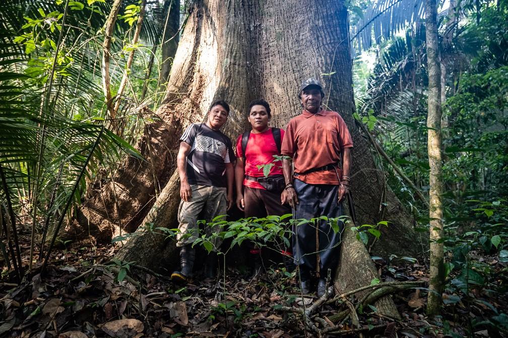 Três gerações Karipuna: Batiti, o pai; Eric, o filho; e Aripã, o avô — Foto: Fábio Tito/G1