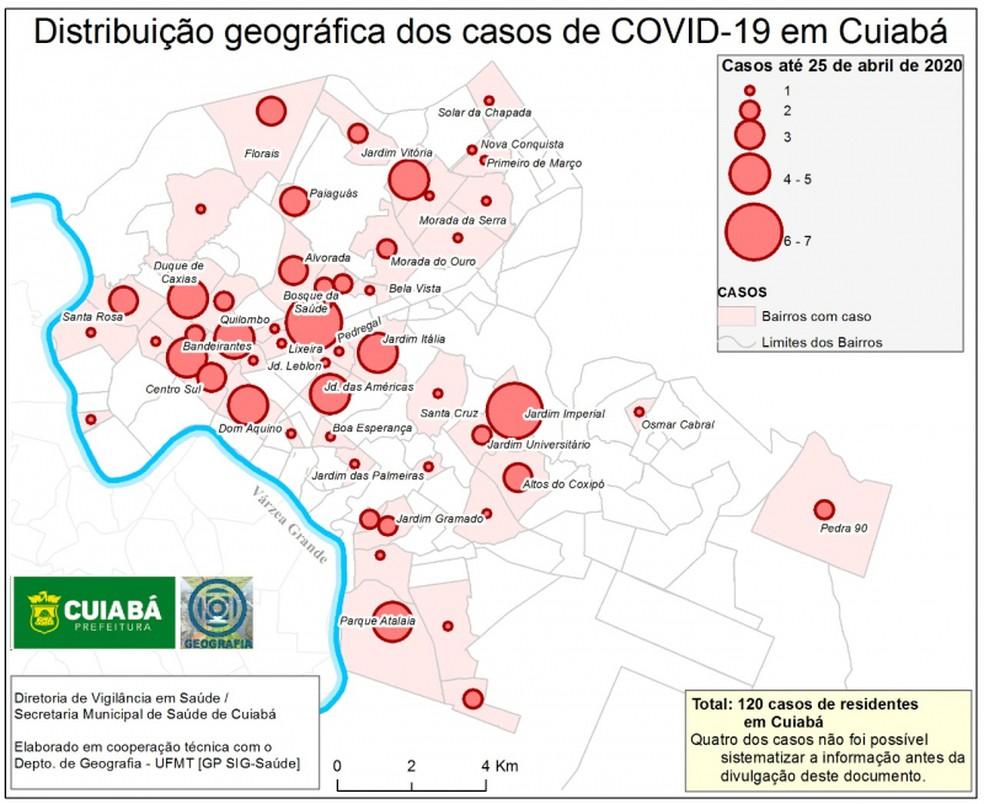 Distribuição geográfica dos casos de Covid-19 em Cuiabá — Foto: Departamento de Geografia/UFMT