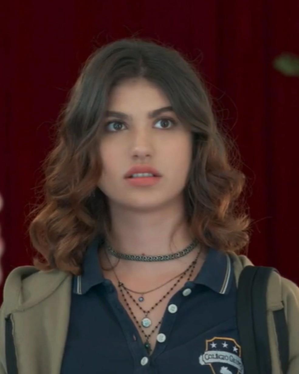 Samantha (Giovanna Grigio) fica bolada com reencontro em 'Malhação - Viva a Diferença' — Foto: Globo