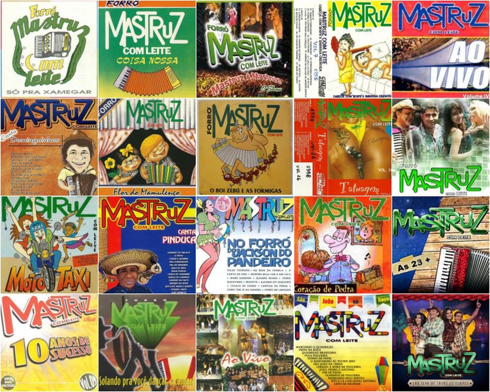 Montagem mostra vários álbuns da Mastruz com Leite, em fases diferentes da banda de forró — Foto: Reprodução