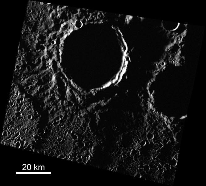 Área combinada dos três depósitos de água congelada em Mercúrio é de 3.400 km² (Foto: Head lab / Brown University)