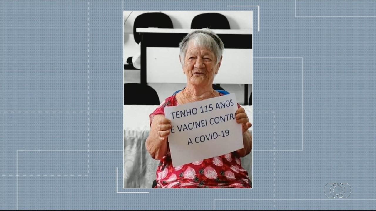 Idosa de 115 anos é a 1ª vacinada contra Covid-19 em Orizona