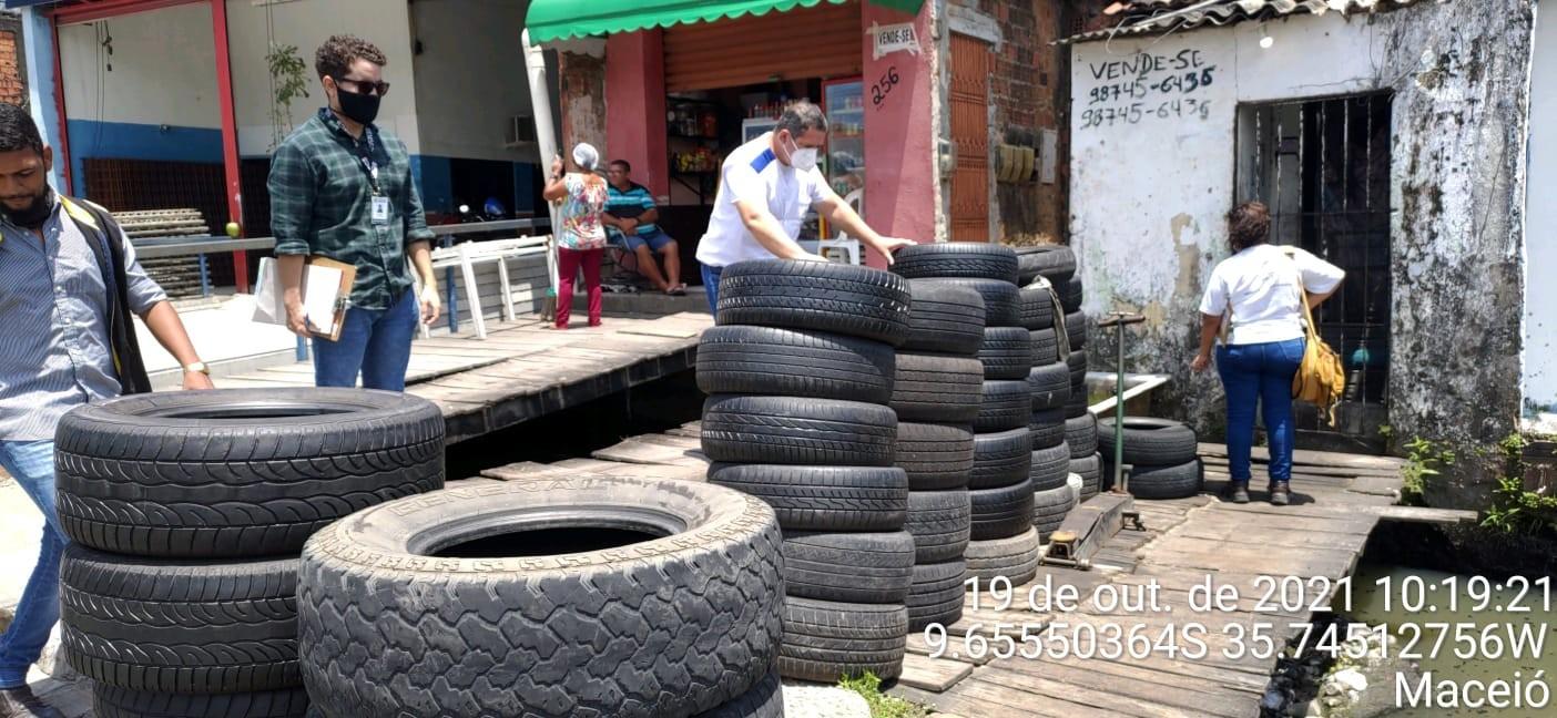 Com aumento de 60% nos casos de dengue, Maceió tem mutirão de coleta de pneus