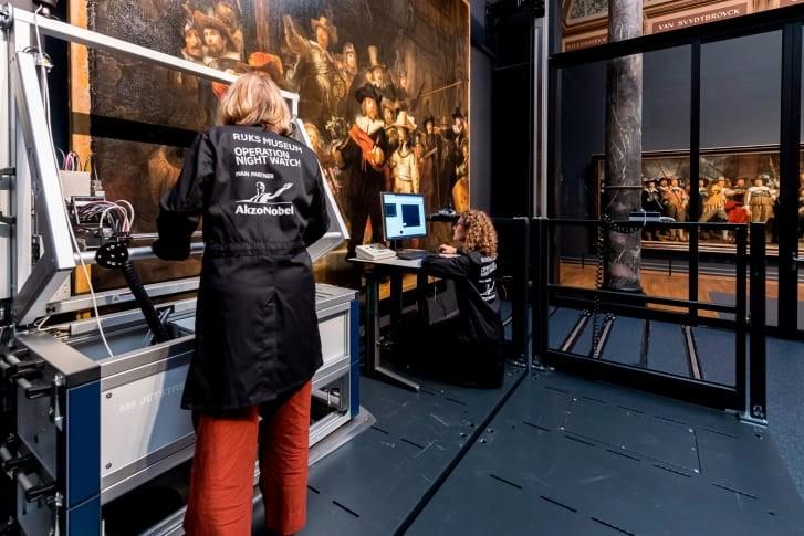 Trabalho de restauração da 'Ronda Noturna', no Rijksmuseum