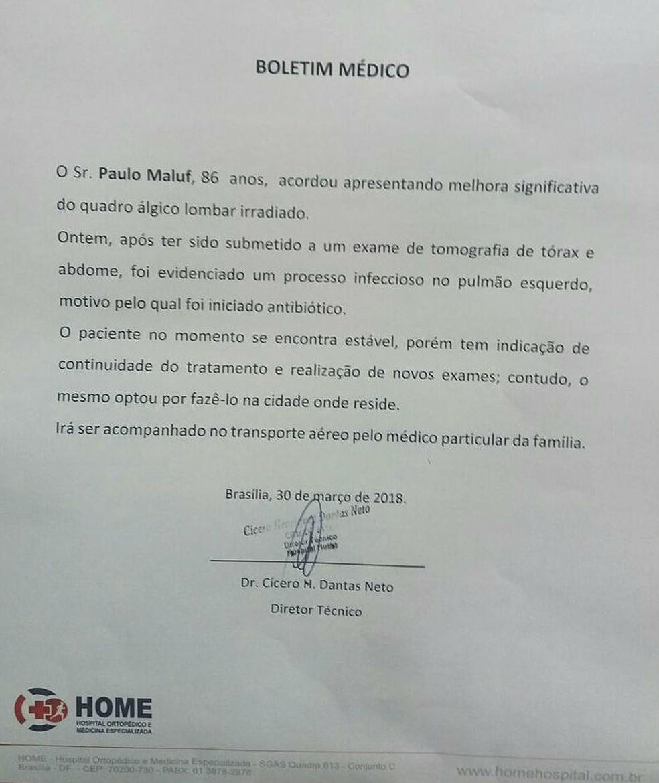 Boletim médico emitido pelo Hospital Home, em Brasília, que libera Paulo Maluf de internação (Foto: Hospital Home/Divulgação)