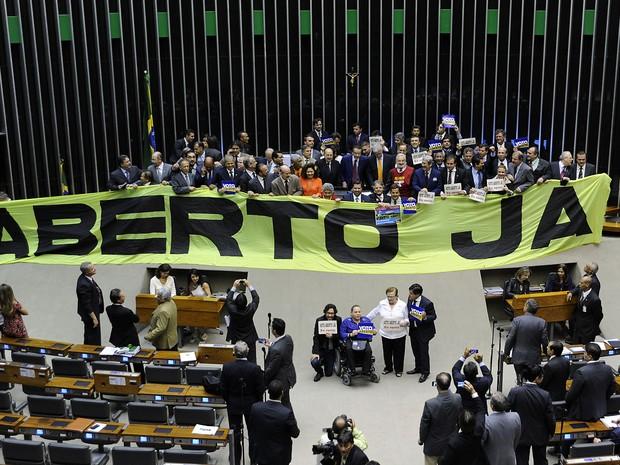 Deputados federais manifestam em prol da votação do Voto Aberto  (Foto: Laycer Tomaz/Câmara dos Deputados)