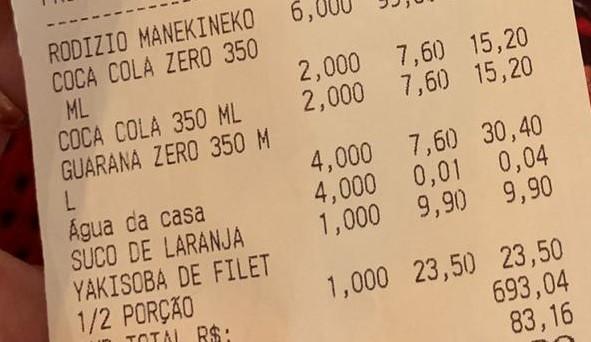 A conta acusou a cobrança