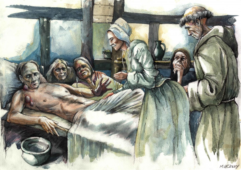 Ilustração representa vítima de peste bubônica, doença causada pela bactéria Yersinia pestis (Foto: Mark Gridley)