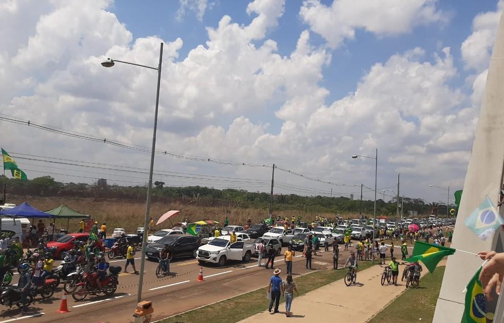 Porto Velho: Manifestantes se concentram no Espaço Alternativo em ato a favor de Bolsonaro no feriado de 7 de setembro — Foto: Jaíne Quele Cruz/G1