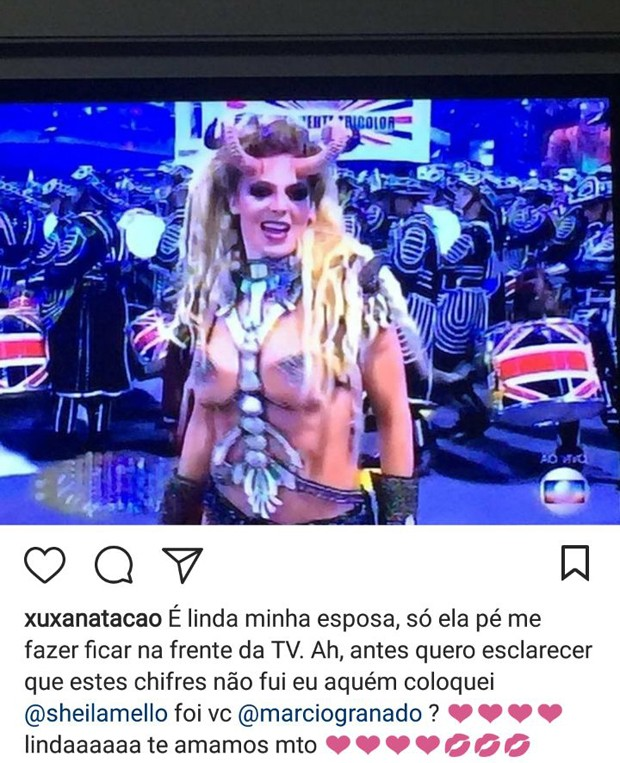 Xuxa faz comentário sobre fantasia de Sheila Mello no Carnaval 2018 (Foto: Reprodução/Instagram)