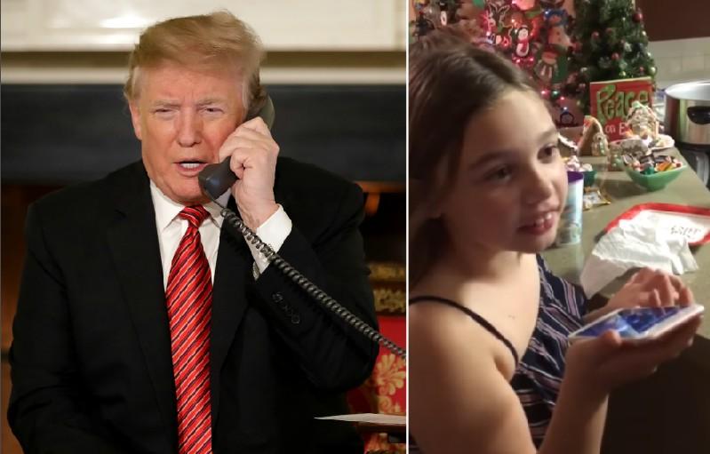 O presidente dos Estados Unidos Donald Trump conversando no telefone com a pequena Collman Lloyd (Foto: Getty Images/Reprodução)