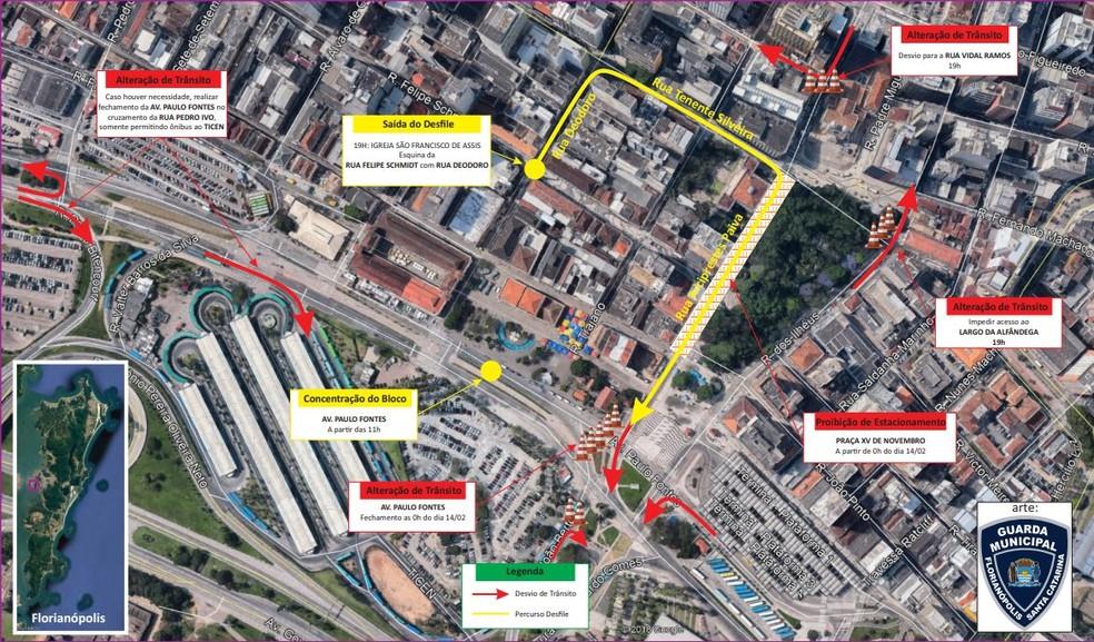 Alterações no trânsito por conta do Berbigão do Boca. Mudanças ocorrem a partir das 11h desta sexta-feira (14) — Foto: Guarda Municipal/Florianópolis