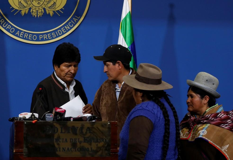 Evo Morales, pouco antes de anunciar as novas eleições, em 10 de novembro de 2019 — Foto: Carlos Garcia Rawlins/Reuters