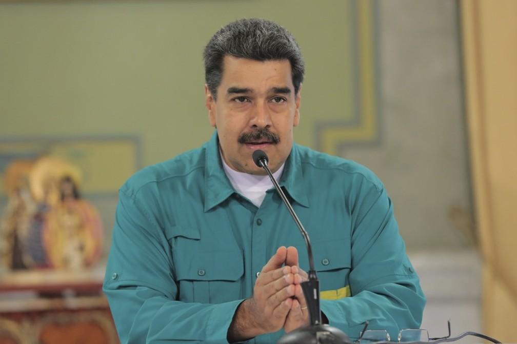 Nicolás Maduro fala a correligionários no Palácio de Miraflores, em Caracas, nesta quinta-feira (4) — Foto: Francisco Batista/Venezuelan Presidency/AFP