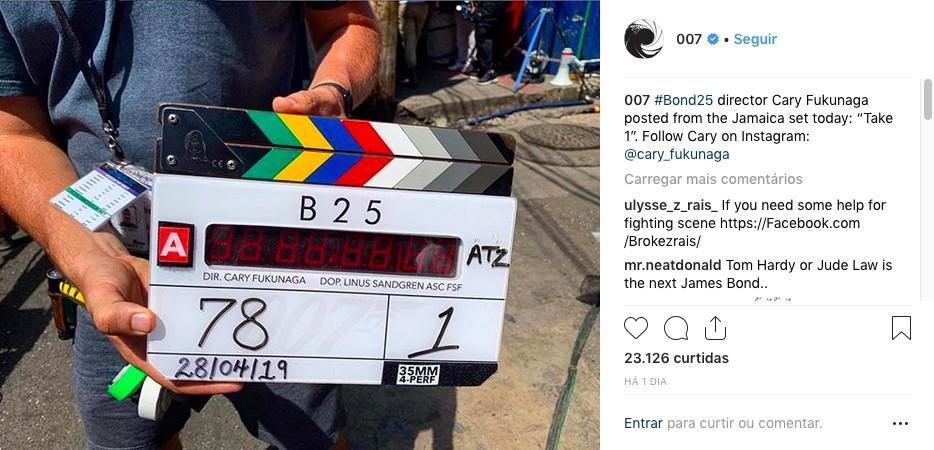 O post compartilhado pelos produtores da franquia 007 anunciando o início das filmagens do 25º filme da série, na Jamaica (Foto: Instagram)