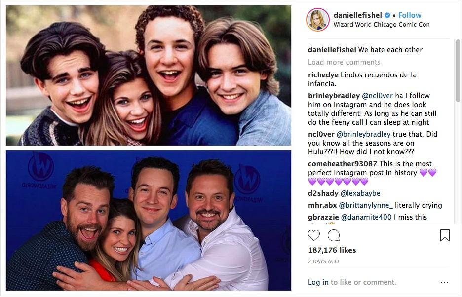 O post de Danielle Fishel com seus colegas de O Mundo é dos Jovens, Ben Savage, Will Friedle e Rider Strong (Foto: Instagram)