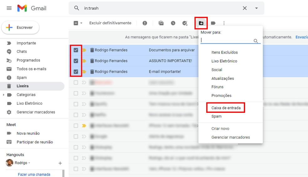 Recuperando e-mails apagados na lixeira do Gmail — Foto: Reprodução/Rodrigo Fernandes