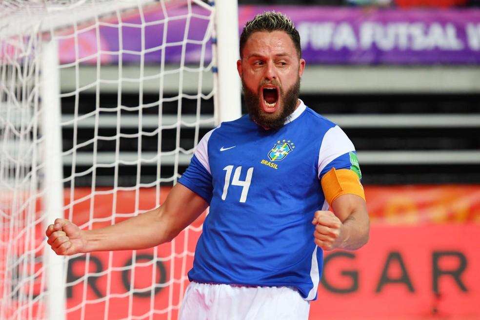 Rodrigo fez o primeiro gol do Brasil no Mundial — Foto: Chris Ricco/FIFA