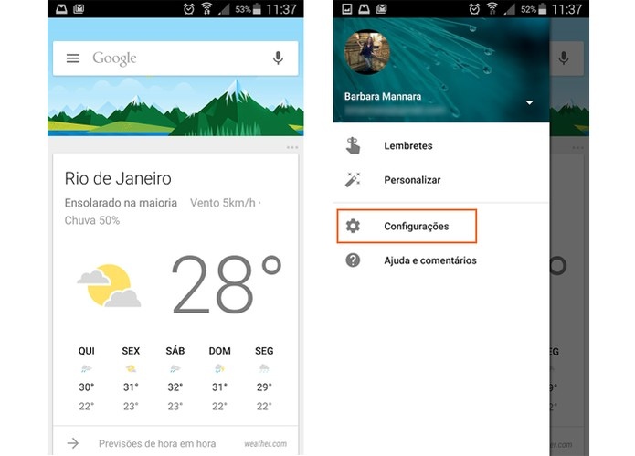 Acesse as configurações do Google Now (Foto: Reprodução/Barbara Mannara)