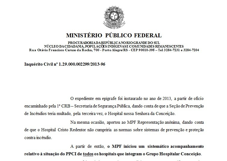 Documento aponta que MPF cobrava desde 2013 PPCIs de hospitais do Grupo Conceição no RS - Noticias