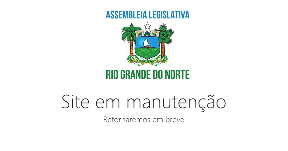 Site da Assembleia Legislativa do Rio Grande do Norte ficou foi tirado do ar após ataque de hackers. — Foto: Reprodução/site da ALRN