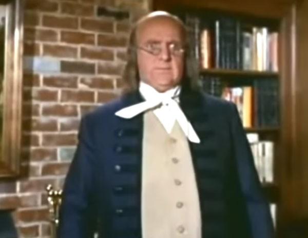 Wayne como Benjamin Franklin no seriado 'A Feiticeira' (Foto: Reprodução)