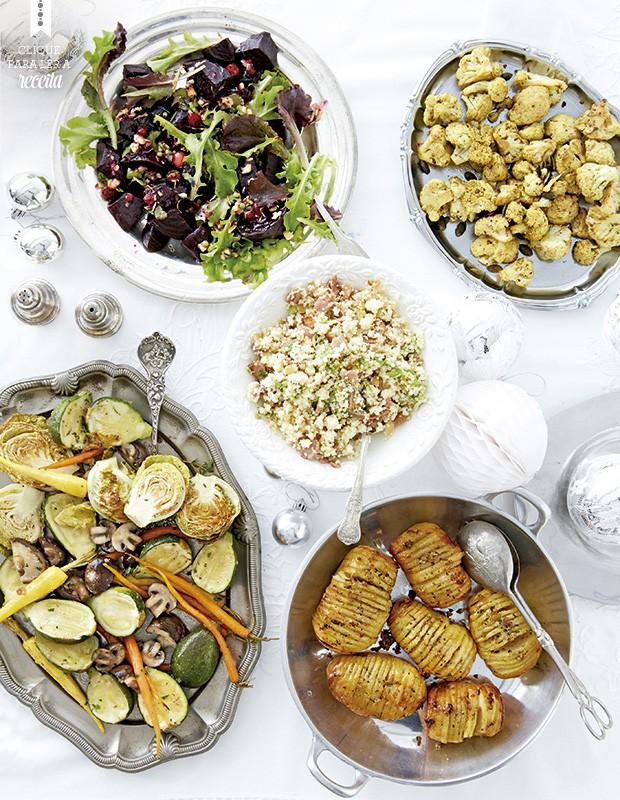 Cinco ideias para acompanhar o prato principal: salada de beterrabas, minilegumes assados, batatas laminadas, cuscuz com bacon e acelga e couve-flor levada ao forno (Foto: StockFood / Gallo Images Pty Ltd.)