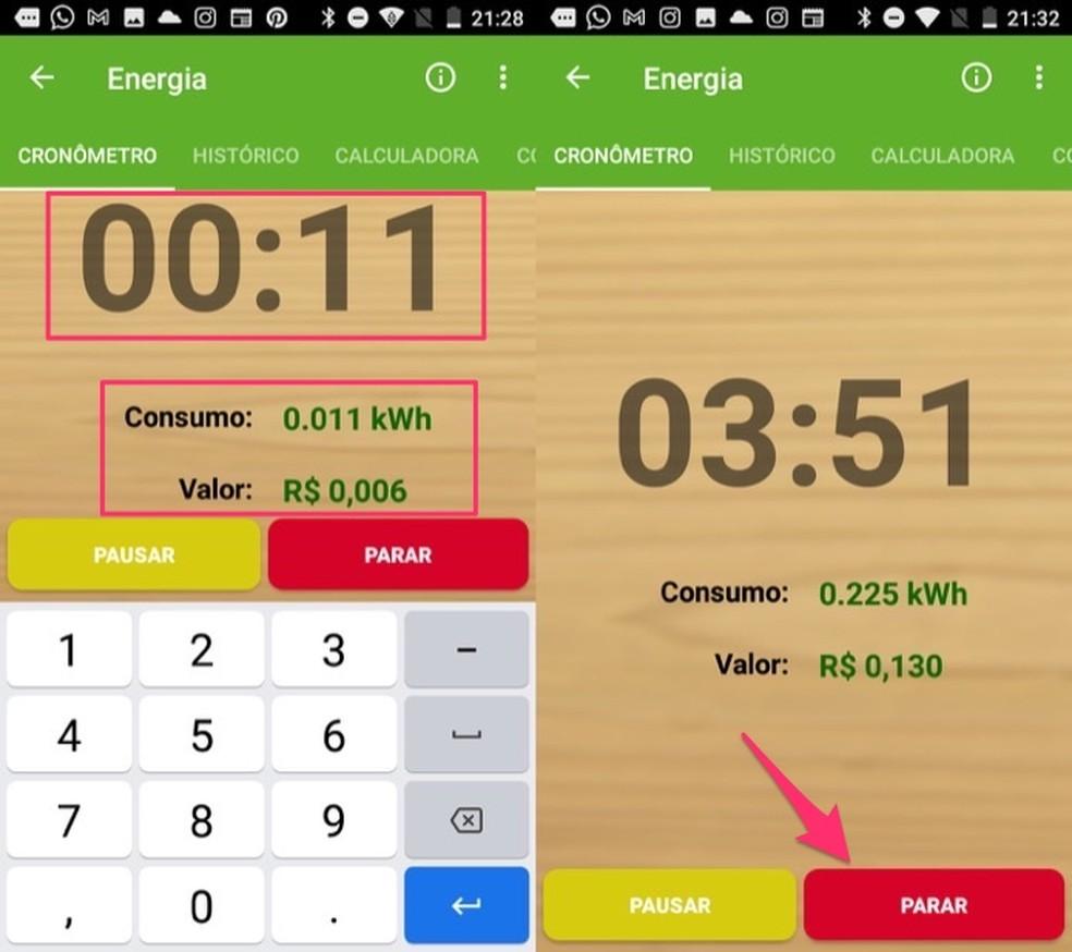 Tela com o cronômetro de consumo de energia do app Sustentabilizando — Foto: Reprodução/Marvin Costa