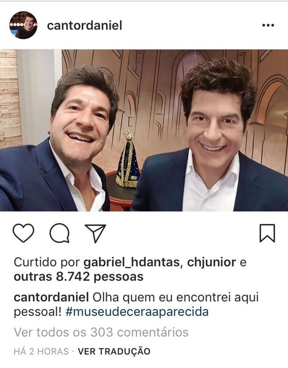 Daniel posta foto com a estátua no Instagram (Foto: Reprodução)